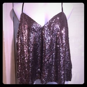 Charlotte Russe 2x purple sequin top